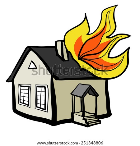 He Burning House Childrens Sketch Color Stock Vector ...
