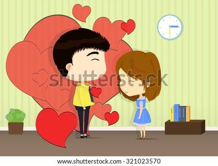 he falling in love her cartoon, for wedding presentation - stock vector