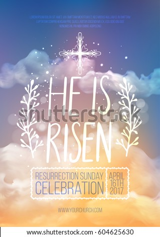He risen vector easter religious poster stock vector 604625630 he is risen vector easter religious poster template with transparency and gradient mesh church stopboris Image collections