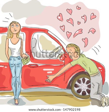 He loves his car, and it's not really like his girlfriend - stock vector
