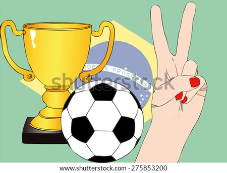 He won the Brazil - Illustration depicting the joy of a supporter for the cup won in a football tournament - stock vector
