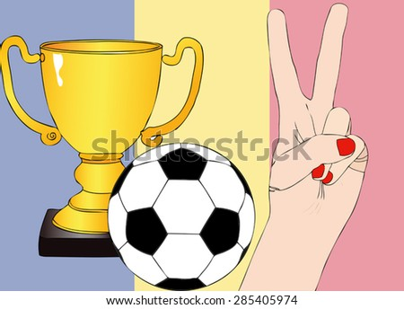 He won the Romania - Illustration depicting the joy of a supporter for the cup won in a football tournament for nations - stock vector