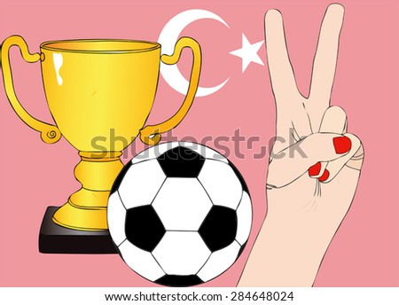 He won Turkey - Illustration depicting the joy of a supporter for the cup won in a football tournament for nations - stock vector