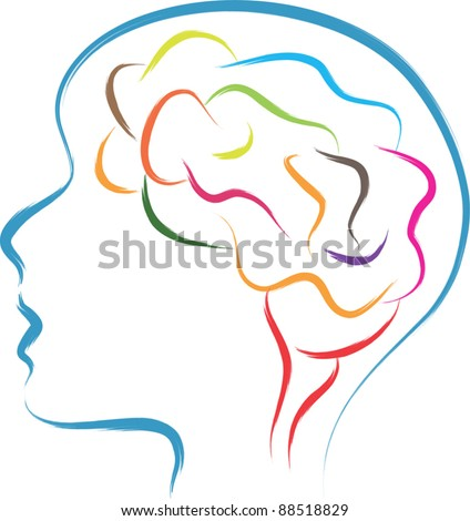 head and  brain abstract illustration
