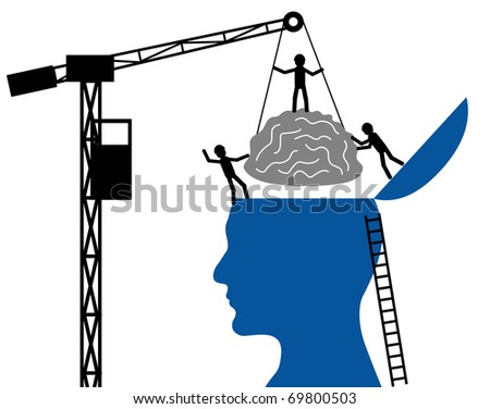 Head and brain on a white background - stock vector