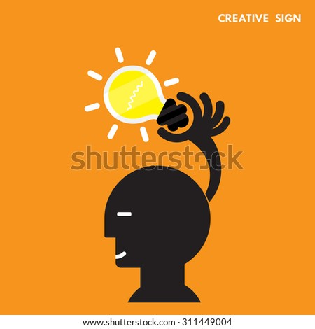 Head and Creative bulb light idea,flat design.Concept of ideas inspiration,innovation, invention, effective thinking, knowledge and education. Business concept and businessman hand.Vector illustration - stock vector