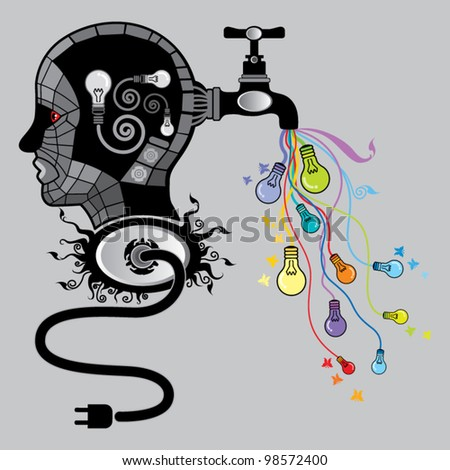 Head and Creativity - stock vector