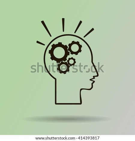 head and  gears  vector icon