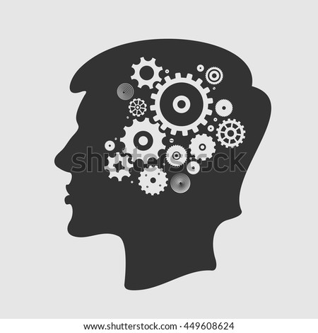 Head and Gears Vector Illustration