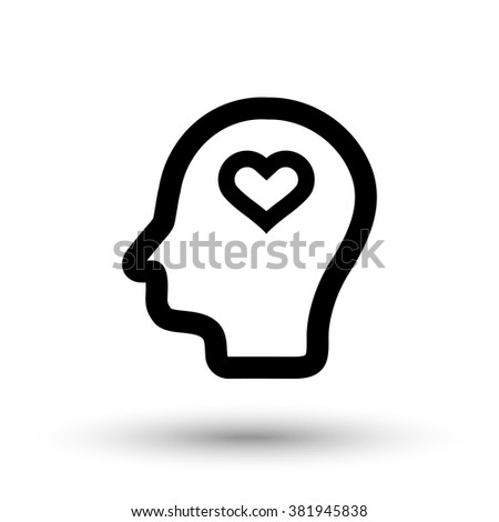 Head and heart icon - stock vector