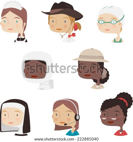 Head and Shoulder Profile professional woman profile avatar collection set 3. - stock vector