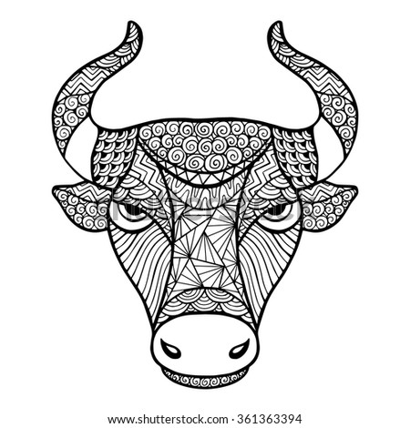 Head Buffalo style zentangle, handmade vector isolated on a white background for your design. Collection of animals. - stock vector