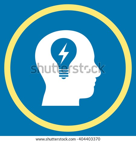 Head Bulb vector bicolor icon. Image style is a flat icon symbol inside a circle, yellow and white colors, blue background. - stock vector