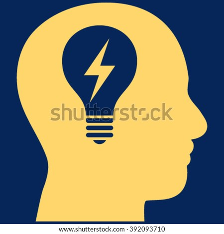 Head Bulb vector icon. Image style is flat head bulb pictogram symbol drawn with yellow color on a blue background. - stock vector
