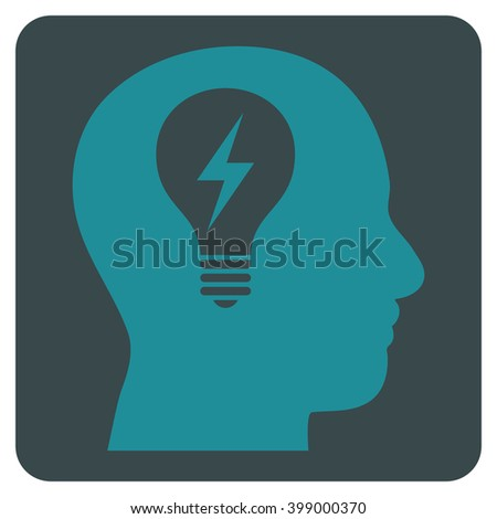 Head Bulb vector icon symbol. Image style is bicolor flat head bulb icon symbol drawn on a rounded square with soft blue colors. - stock vector