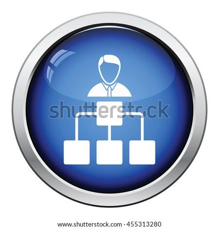 Head businessman with scheme icon. Glossy button design. Vector illustration. - stock vector