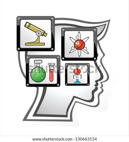 Head.Children Learn to think - stock vector