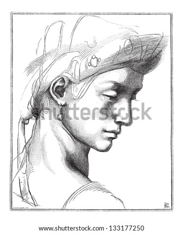 Head Comic by Michaelangelo, at the Uffizi Gallery, in Florence, Italy, vintage engraved illustration. Le Magasin Pittoresque - 1874 - stock vector