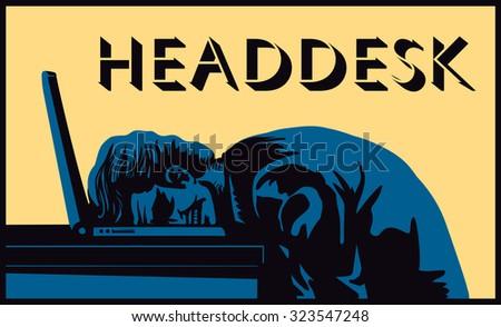 Head desk! Stressed businessman banging head against desk in frustration vector illustration, burnout, dead end - stock vector