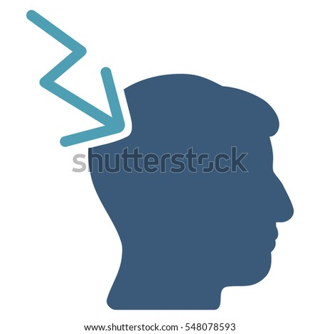 Head Electric Strike vector pictogram. Style is flat graphic bicolor symbol, cyan and blue colors, white background.