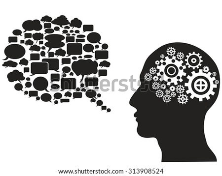 head gears with speech bubble - stock vector