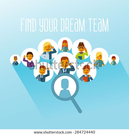 Head hunting concept. Human resource and recruitment for business.Finding your own dream team. Vector flat illustration - stock vector