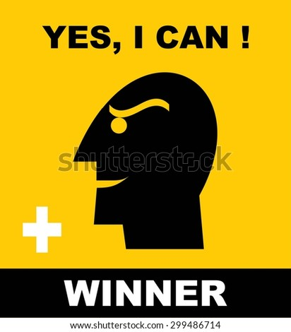 Head Icon of a winner. Simple flat icon about : confidence and  optimistic to be a winner. Icon to motivate to reach your dream. - stock vector