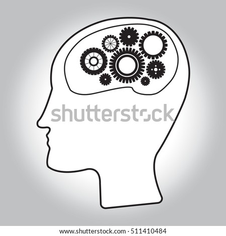 Head icon with gear. Flat illustration thinking concept