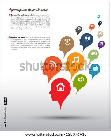 Head icons color bubble vector / business concept / education / front, next, fore, anterior