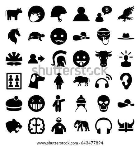 Head icons set. set of 36 head filled icons such as cow, hog, eagle, panther, elephant, horse, turtle, baby cap, ear, woman hat, businessman, brain, laughing emot