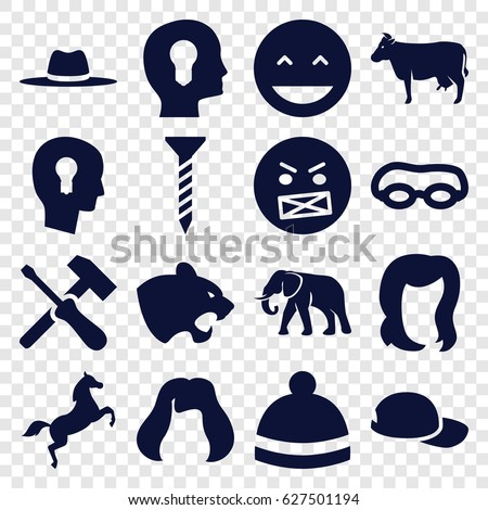 Head icons set. set of 16 head filled icons such as cow, panther, elephant, hairstyle, winter hat, screw, laughing emot, angry emot, hat, horse, baseball cap, screwdriver