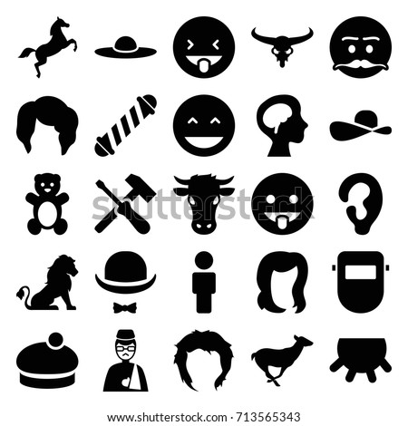Head icons set. set of 25 head filled icons such as udder, lion, cow, bull skull, antelope, teddy bear, ear, hair curler, woman hairstyle, woman hat, welder mask