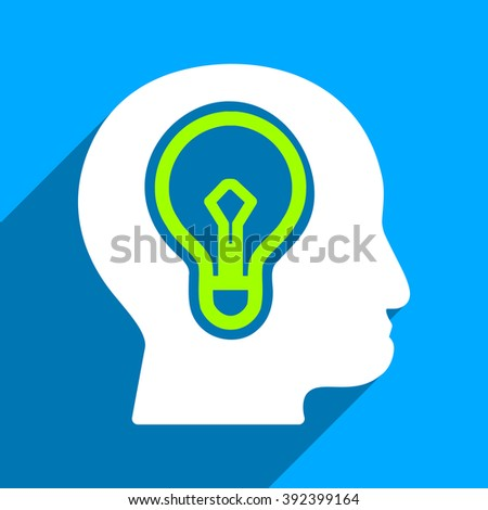 Head Idea Bulb long shadow vector icon. Style is a flat head idea bulb iconic symbol on a blue square background. - stock vector