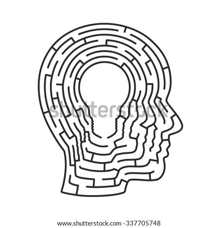 Head idea labyrinth. Head lamp sign, Vector illustration - stock vector