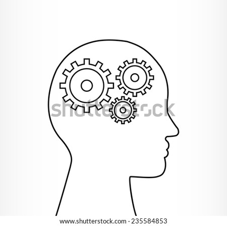head jigsaw outline illustration