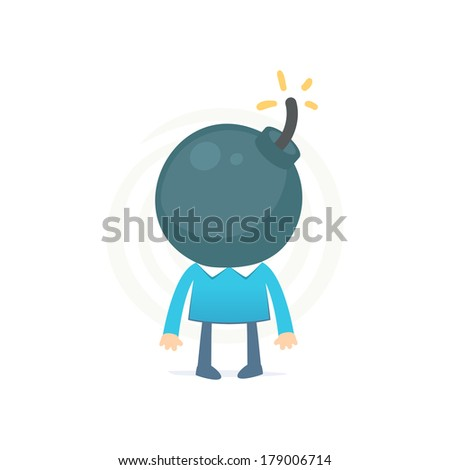 head like a bomb might explode from the excess thoughts - stock vector