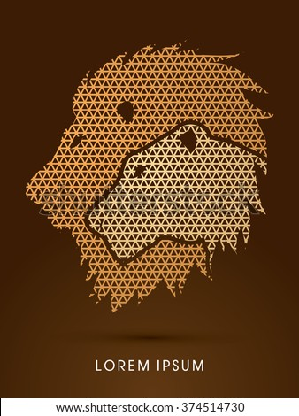 Head Lion and Lioness designed using line geometric pattern graphic vector. - stock vector