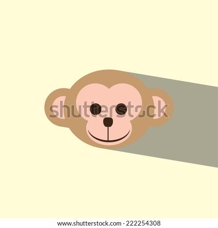 head monkey flat icon  vector illustration eps10   - stock vector