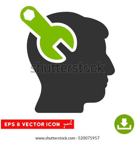 Head Neurology Wrench EPS vector icon. Illustration style is flat iconic bicolor eco green and gray symbol on white background.
