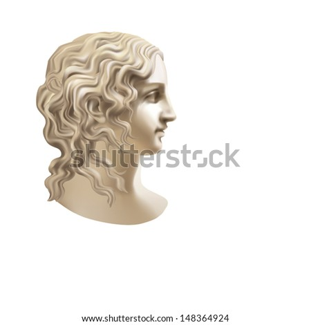 Head of a Girl in a classical style on a white background - stock vector