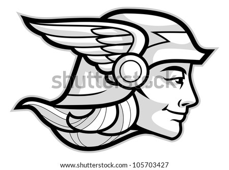 Head of a Greek god Hermes isolated on white