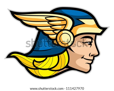 Head of a Greek god Hermes isolated on white - stock vector