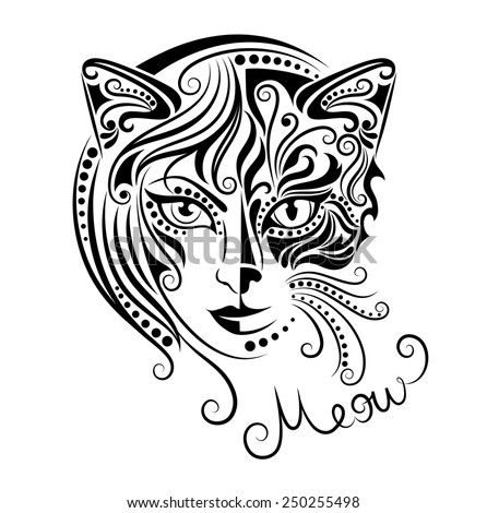 Head of a half woman and half a cat.  - stock vector