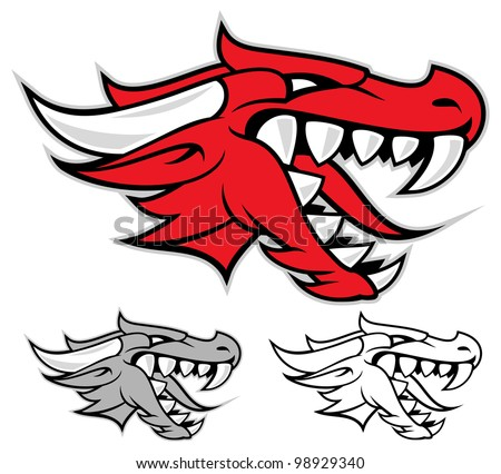 Head of a red dragon isolated on white - stock vector
