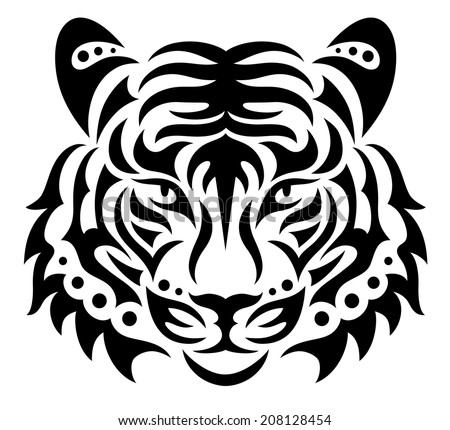 Head of a tiger.  - stock vector