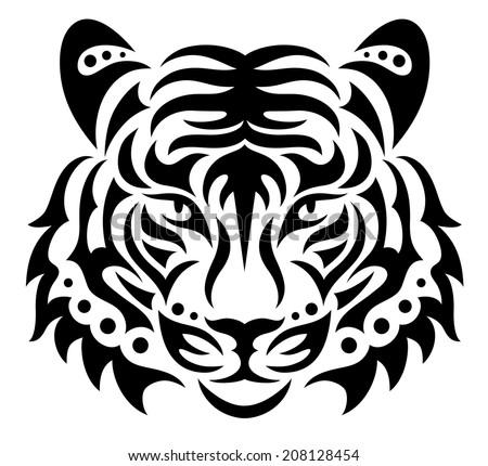 Tiger silhouette stock images royalty free images vectors shutterstock - Tete de tigre dessin facile ...