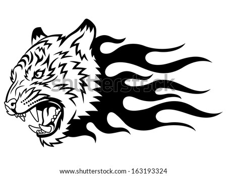 Head of a tiger in tongues of flame in the form of a tattoo. Tiger anger. This is vector illustration ideal for a mascot and tattoo or T-shirt graphic.