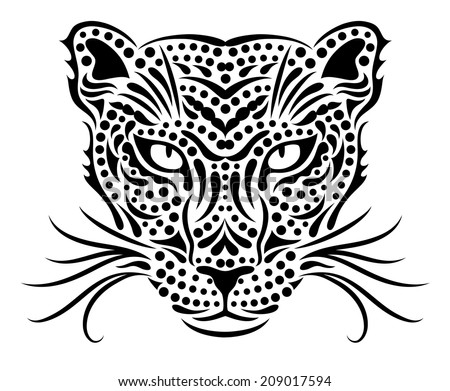 Head of a wild leopard. - stock vector