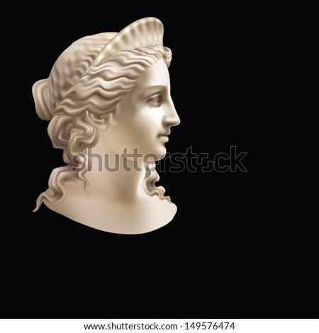 Head of a woman wearing a crown in a classic style on a black background - stock vector