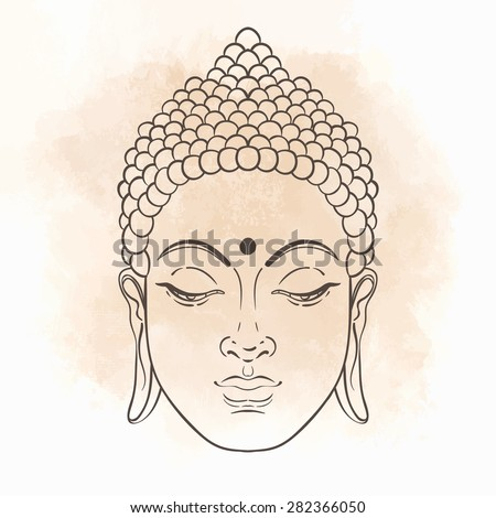 Head of Buddha. Vector illustration isolated on white - stock vector
